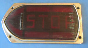 Vintage Guide R t5a Red Left Turn Signal Arrow Glass Lens Truck Bus W Frame