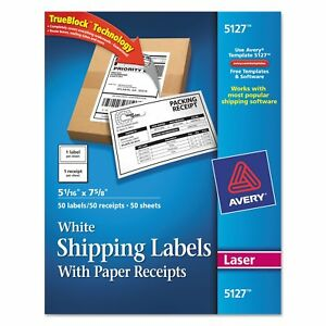 Avery White Shipping Labels With Paper Receipt 5 1 2