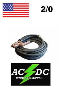 50 Ft 2 0 Welding Cable Lead With Stinger Lug Black
