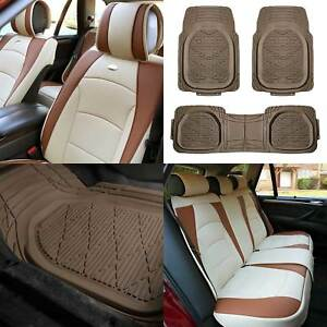 Faux Leather Seat Cushion Covers For Car Suv Auto Beige W Beige Deep Dish Mats