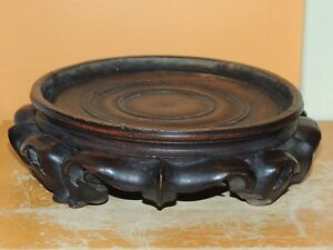 Antique Wood Wooden 5 6 75 Base Carved Chinese Stand Lamp Vase Pot Late Qing