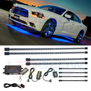 4pc Ledglow Blue Underglow Car Led Neon Light Kit W 4pc Under Dash Interior Leds