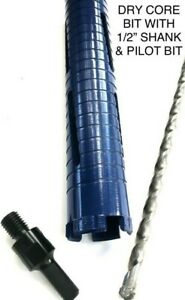 3 Dry Diamond Core Drill With Pilot Bit 1 2 Shank Chuck Arbor Adapter