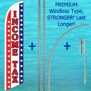 Income Tax Windless Banner Flag 15 Tall Premium Pole Mount Kit Feather Sign