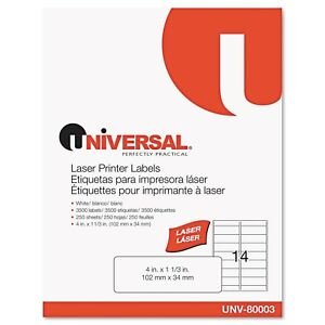 Universal White Laser Printer Permanent Labels box Of 3500
