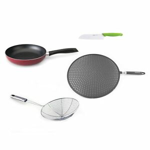 Geminis Red Pan Splatter Screen Skimmer And Ceramic Knife 4 piece Stir fry Set