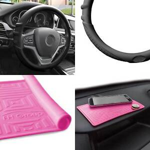 Silicone Steering Wheel Cover Grip Marks W Pink Dash Mat Black For Auto