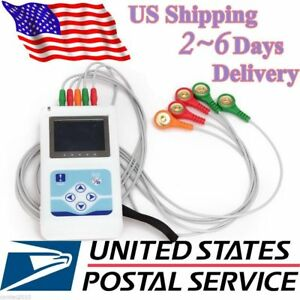 24h Holter Ecg Monitor Electrocardiogram Heart Function 3 Channels Software usa