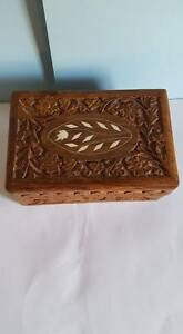 Vintage Carved Wooden Hinged Box With Mother Of Pearl Inlays