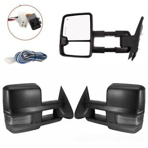 For 99 02 Silverado Sierra Power Heated Towing Mirror Smoked Amber Led Signals