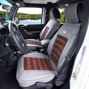 Premium Leather Seat Covers Cushion Msaage Cooling Beads Gray