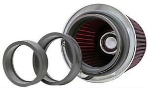 K N Rg 1001rd Universal Air Filter Chrome Round Tapered Red 3 To 4 Inlet