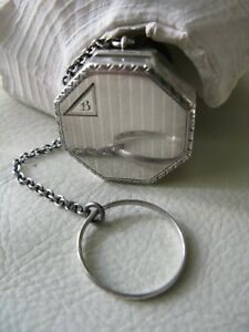 Antique Victorian Sterling Silver Finger Ring Purse Dance Powder Puff Compact B