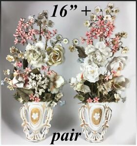 Antique French Hand Made Porcelain Flower Bouquet Pair Old Paris Vase 16 Tall