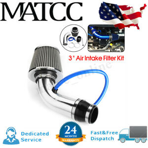 3 Universal Car Cold Air Intake Filter Induction Kit Pipe Hose Aluminum Silver