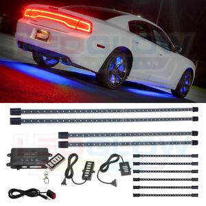 Ledglow Blue 4pc Underglow Car Led Neon Kit W 6pc Interior Under Dash Lights