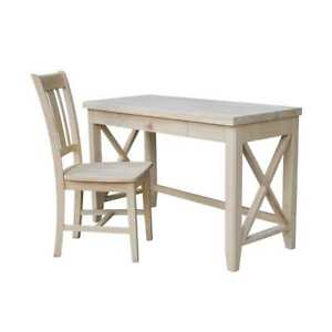Hampton Solid Wood Desk And Chair Set Unfinished