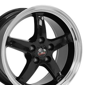 17x9 Wheels Fit Ford Mustang Cobra R Dd Blk Mach d Rims W1x Set