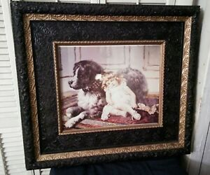 Antique Large Victorian 29 X 25 Ebony Gold Gesso Frame Child With Dog Print
