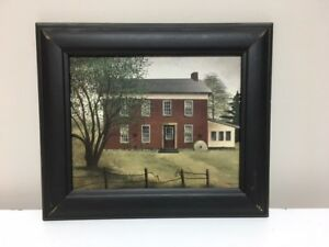Primitive Red Farmhouse Framed Picture 13 X 11 Farmhouse Picture