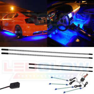 Ledglow 4pc Blue Underbody Underglow Car Led Neon Kit W 4pc Led Interior Lights
