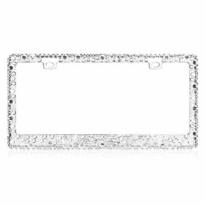 Multiple Sized White Color Crystals Chrome Metal Frame