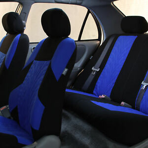 Sports Seat Covers Blue Black For Auto Car Suv Full Interior Top Quality