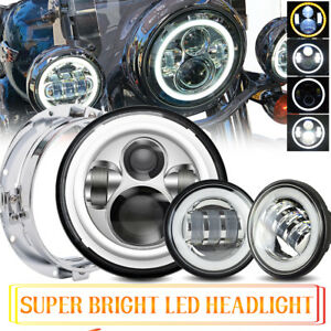7 Projector Led Headlight Passing Light Fit Harley Tour Tri Glide Ultra Classic
