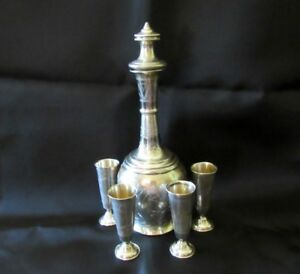 Imperial Russian 84 Silver Decanter With 4 Vodka Cups 1890 S Srd11