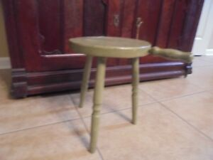Vintage Wooden Milking Stool With Hand Painted Over Foot Tall
