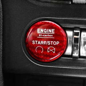 Real Carbon Fiber Start Stop Switch Button Cover Trim For Ford Mustang 15 18