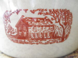 Rare Vintage Old Usa Country Crock Bowl Amana Western Stoneware Rock House Nice