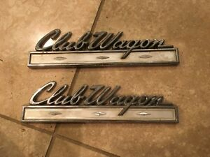 1969 1974 Ford Club Wagon Custom Van Pair Of Badge Logo Emblem Nice