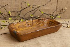 Farmhouse Trencher Dish Bowl Distressed Treenware Primitive Vintage Style Resin