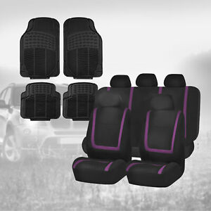 Black Purple Car Seat Covers With Black Floor Mats Combo For Auto Car Suv