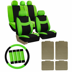Full Car Seat Covers For Auto Set Green W steeringl belt Pad rubber Floor Mat