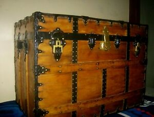 Rare J H Mcnamara Antique Steamer Trunk Large Flat Top Chest With 2 Trays