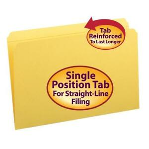 Smead File Folder Reinforced Straight cut Tab Legal Size Yellow 100 Per Box