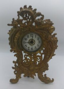 Rare Antique Vintage1902 1905 Western Victorian Gilded Cherub Garniture Clock