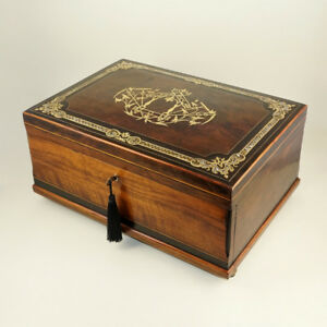 Large Antique French Burl Walnut Cashmere Chest Box Brass Pearl Inlay Lock