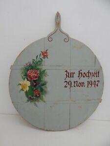 Vintage German Pastry Bread Board Original Paint Very Large Folk Art