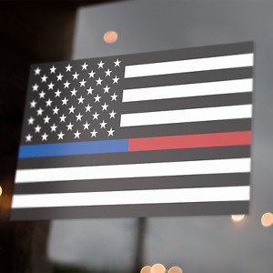 Thin Blue Red Line American Flag Decal 5x3 Sticker Firefighter Police Support