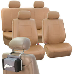 Sport Line Faux Leather Car Seat Cover Set Tan Free Gift Tissue Dispenser