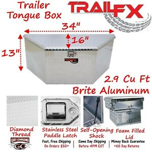 201191 Trailfx 34 X 16 X 13 Polished Aluminum Trailer Tongue Tool Box