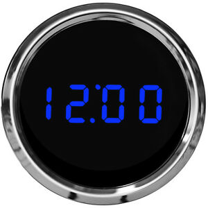 2 1 16 Universal Automotive Digital Clock Blue Led Gauge With Chrome Bezel