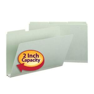 Smead Pressboard File Folder 1 3 cut Tab 2 Expansion Legal Size Gray green