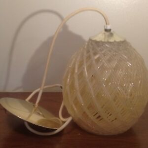 1960s Space Age Clear Moon Spun Lucite Spaghetti Hanging Swag Lamp Light Eames