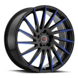20 Inch 20x8 Revolution Racing Rr15 Black Blue Wheel Rim 5x4 5 5x114 3 40
