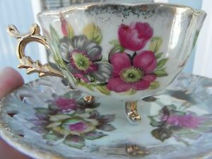 Vintage Shafford 3 Footed Reticulated Pearlized Tea Cup Saucer Bone China