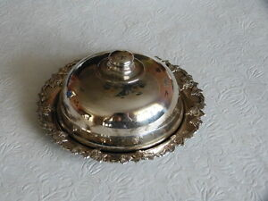 Vintage O W C Leon France Silver Plate Dish Tray Cover